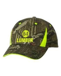 Camo Hat with Hi-Vis Trim in Safety Yellow