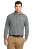 Grey Long Sleeve Pique Polo Tall