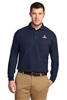 Navy Long Sleeve Pique Polo Tall