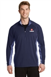 Mens Stretch Contrast 1/2-Zip Pullover