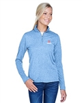 UltraClub Ladies' Cool & Dry Heathered Performance Quarter-Zip 8618W